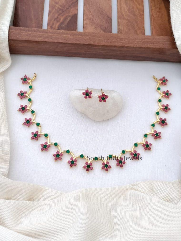Marvelous CZ Stones Floral Design Necklace