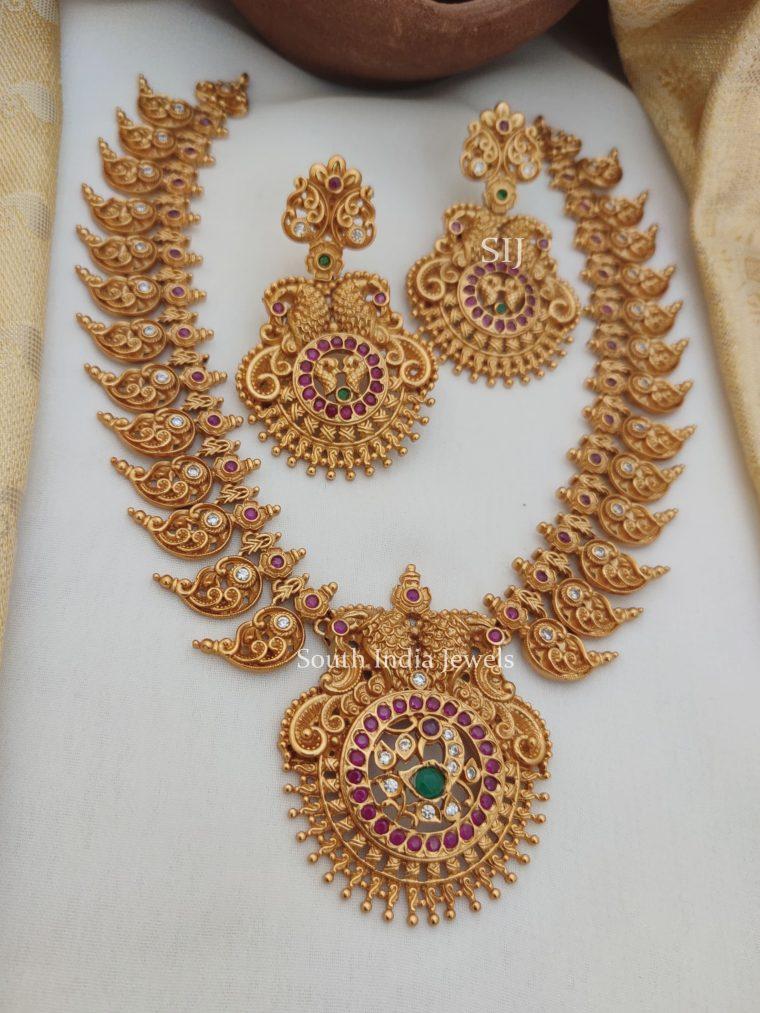 Marvelous Peacock Mango Design Necklace (2)