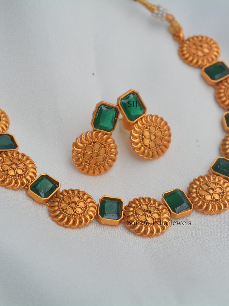 Matte Finish Rectangle Stone Necklace