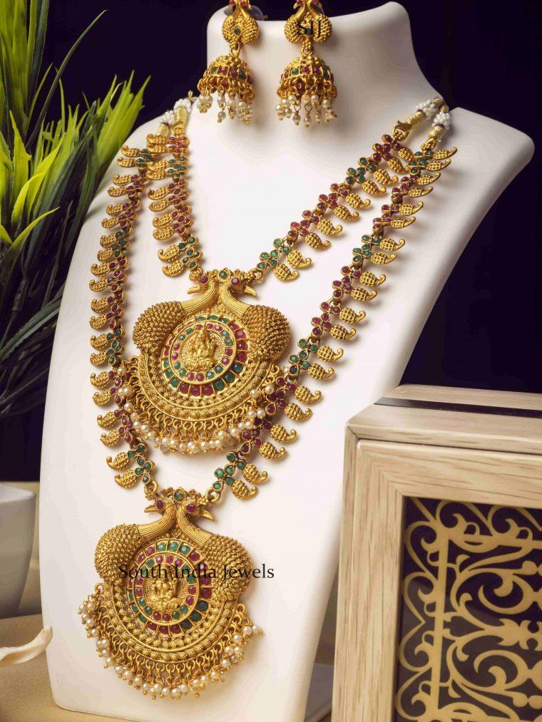 Multi Stone Double Line Temple Long Necklace