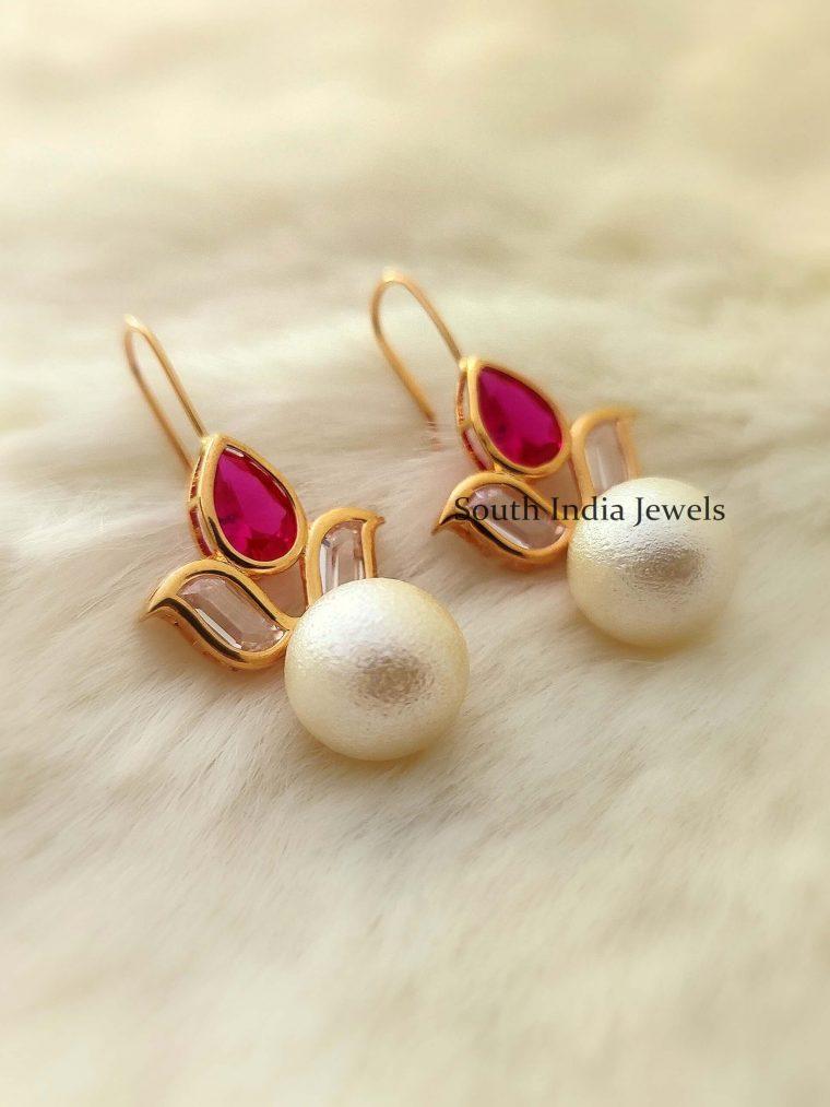 Pearl Drop Gold Plated Hoop Earrings (5)