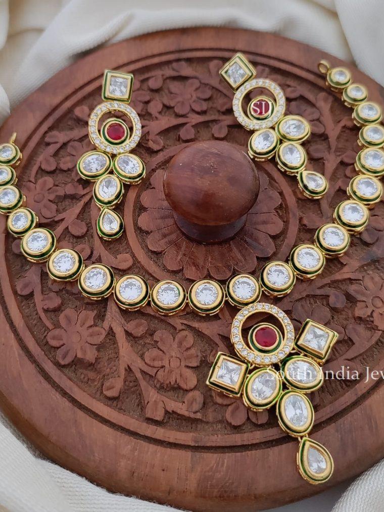 Pretty American Diamond Stone Necklace