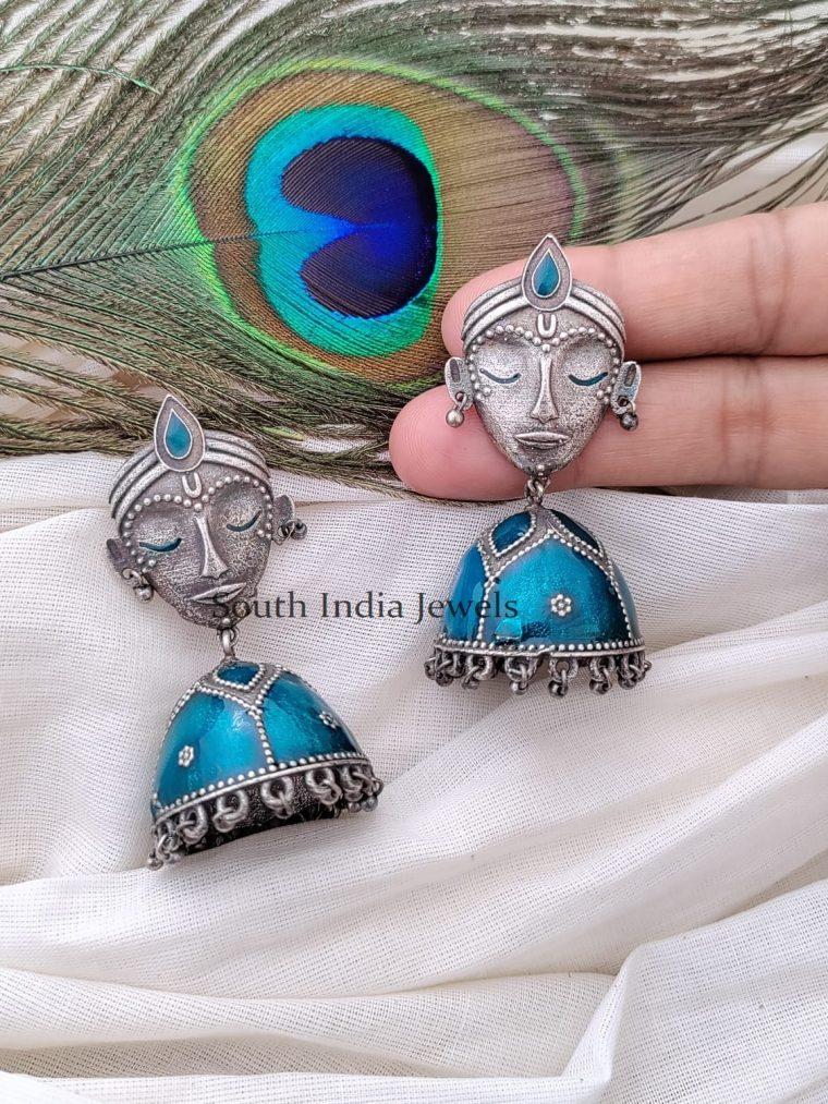 Pretty German Silver Enamel Jhumka