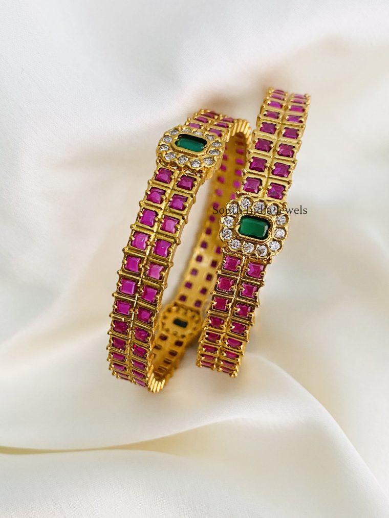 Pretty Pink Green Stone Bangles