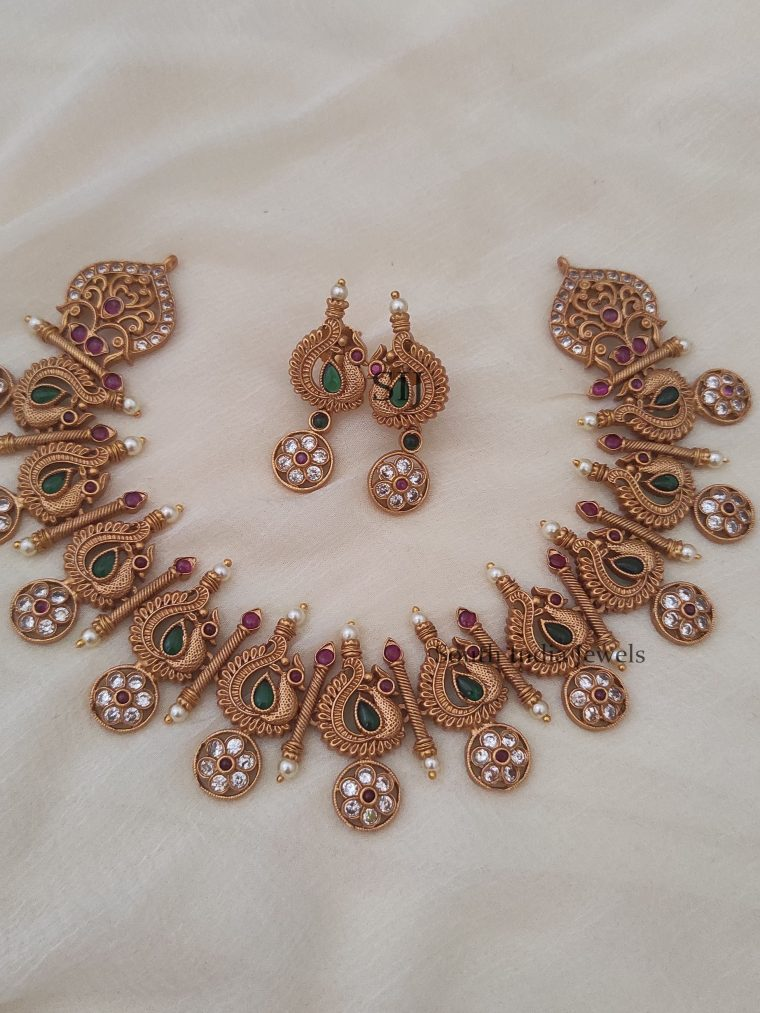 Rich Peacock Floral Design Necklace