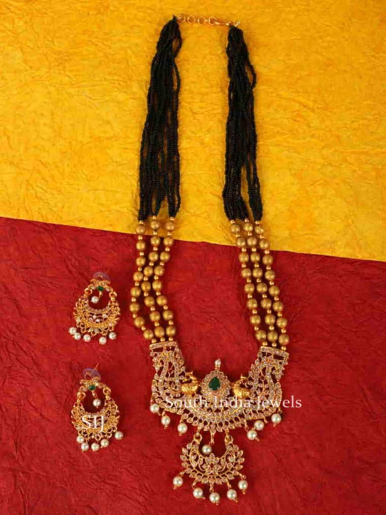 Royal Black Pearl Temple Style Necklace