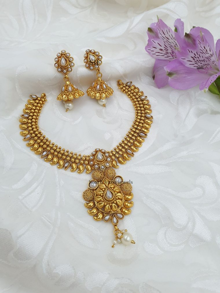 Royal Gold Finish Pearls Necklace