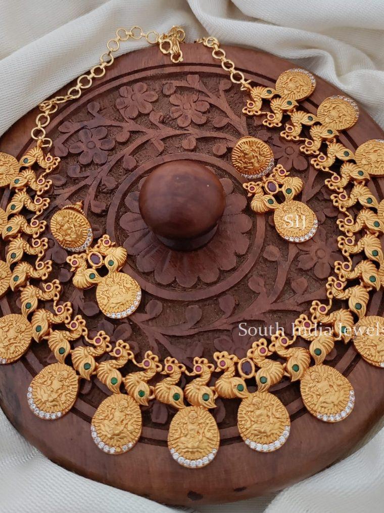 Royal Matte Finish Lakshmi Coin Necklace