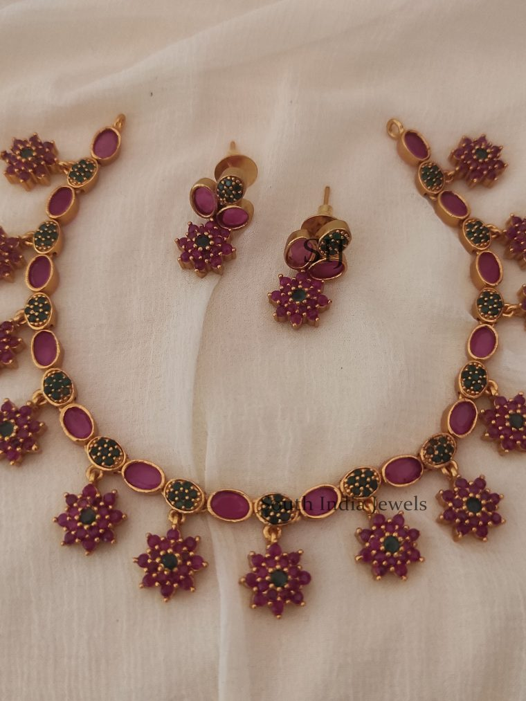 Ruby Emerald Floral Design Necklace (2)