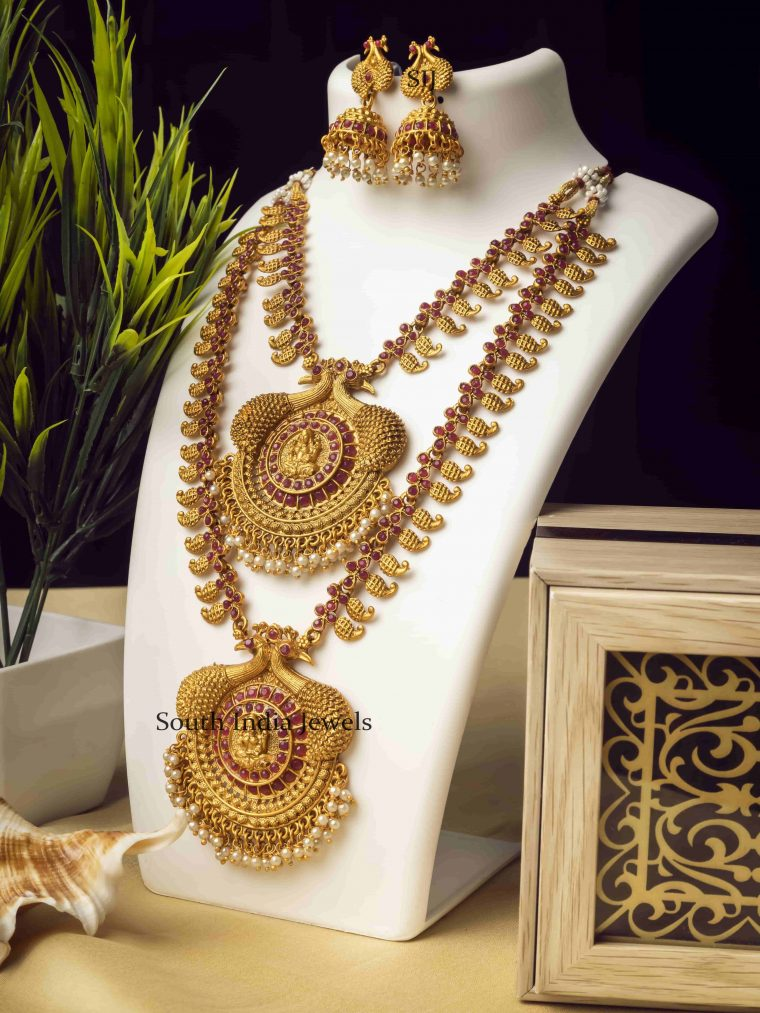 Ruby Stone Double Line Temple Long Necklace