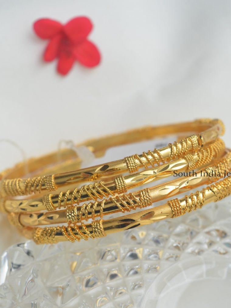 Simple Designer Gold Finish Bangles
