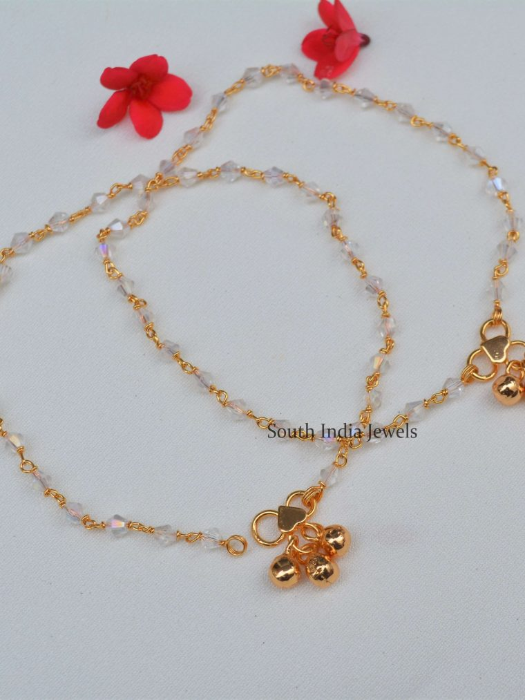 Simple White Stone Adult Anklets