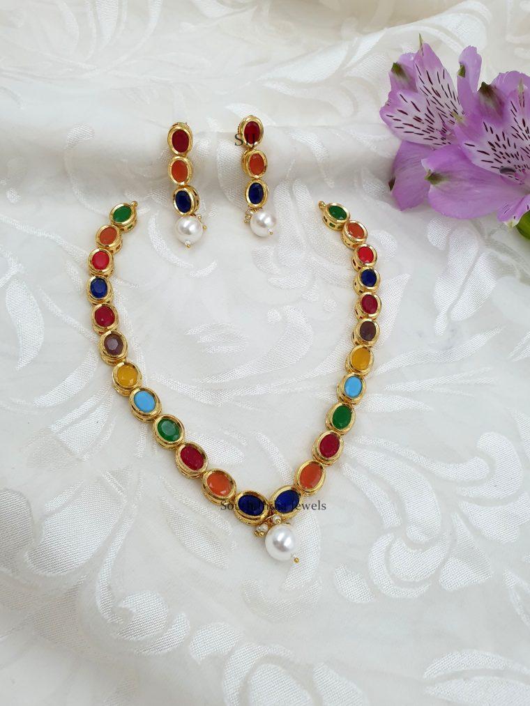 Sleek Designer Navarathna Stones Necklace