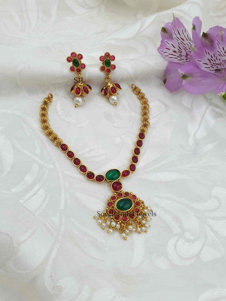 Sleek Multi Stone Antique Necklace Set