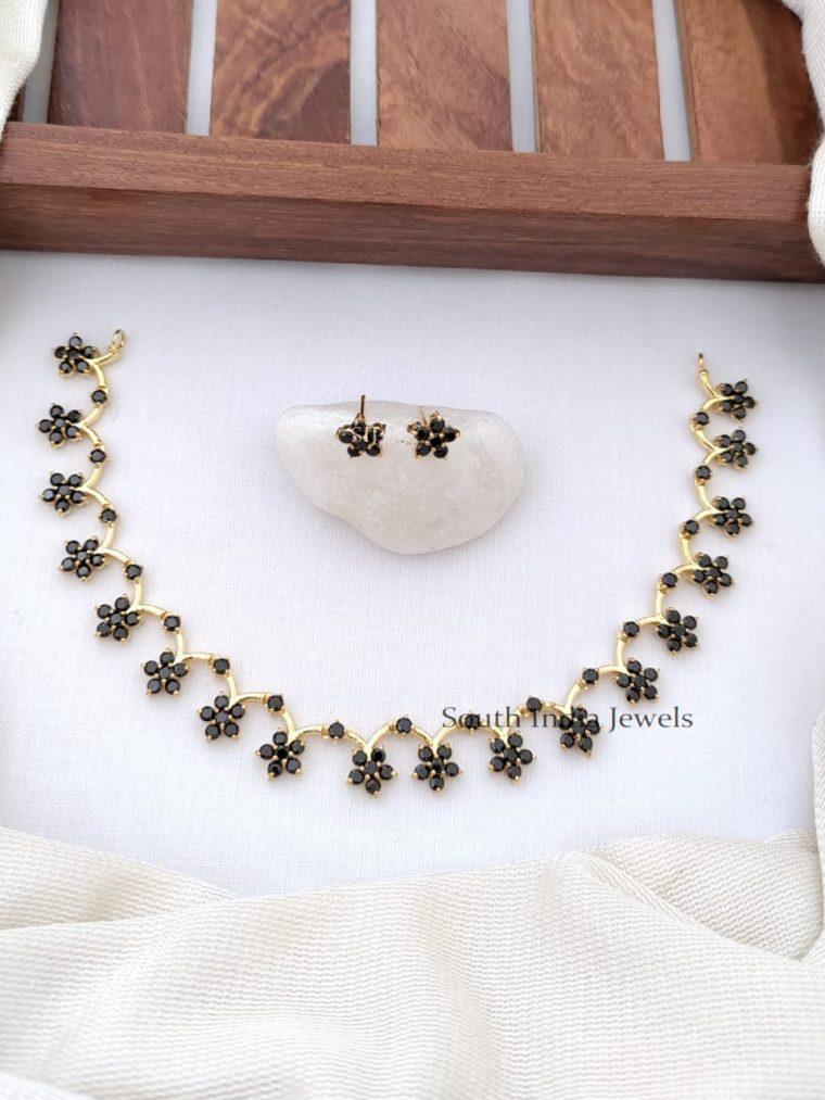 Stunning CZ Stones Floral Design Necklace