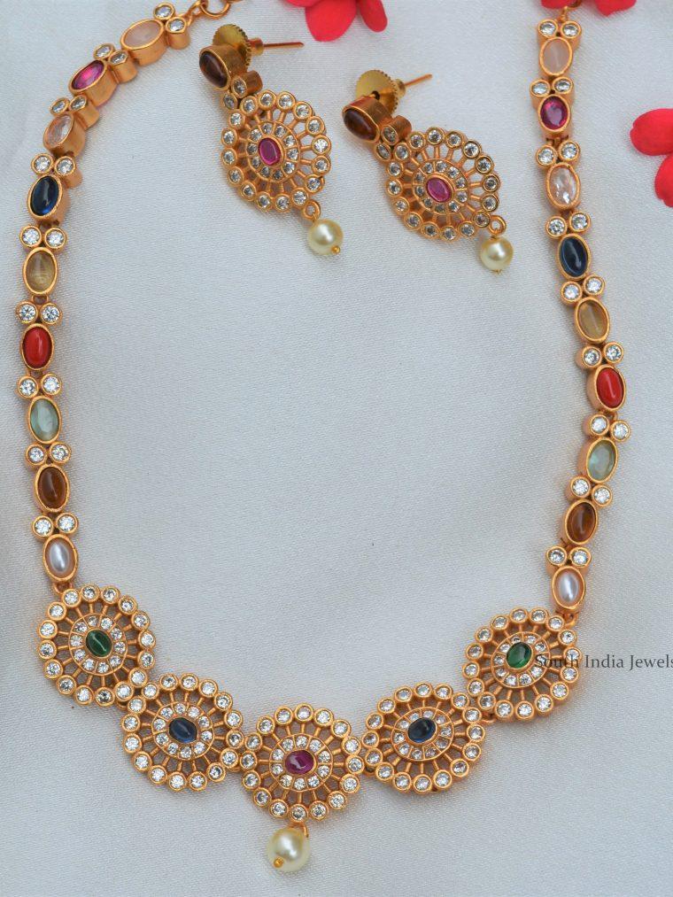 Stunning Navratna Matte Finish Necklace