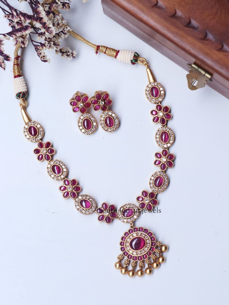 Stunning Ruby Stone Floral Necklace