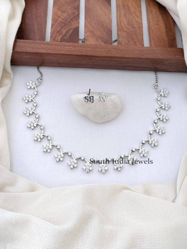 Stylish Platinum Finish CZ Stone Floral Necklace