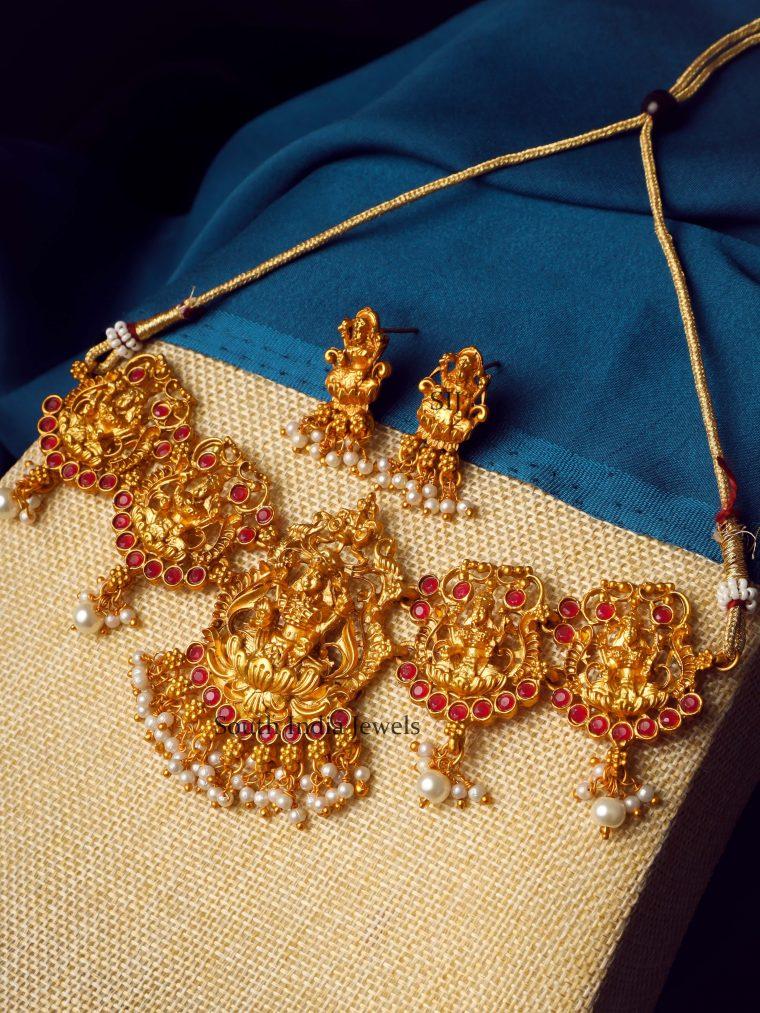 Temple Design Pink Laxshmi Choker