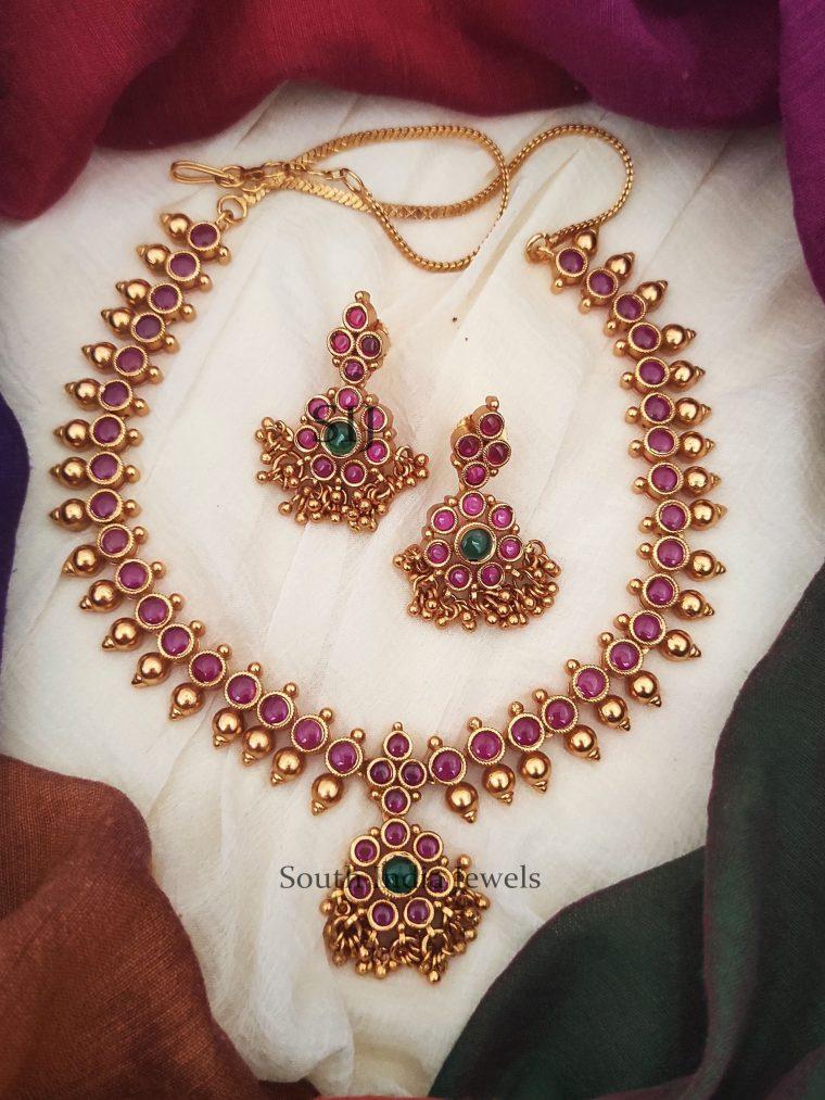 Traditional Kemp Golden Beads Attigai Necklace