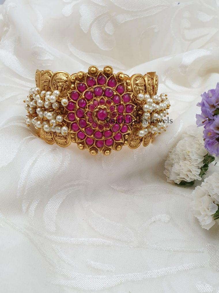 Traditional Lakshmi Coin Pearls Kada Bangle (2)
