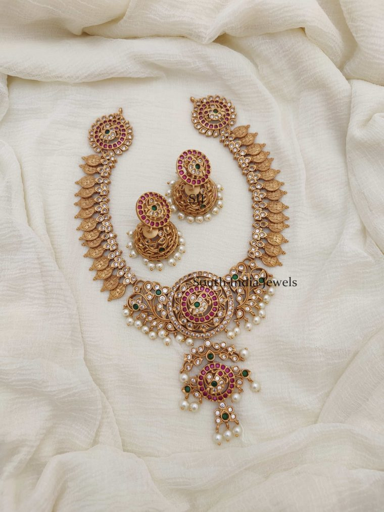 Traditional Lakshmi Peacock AD Necklace