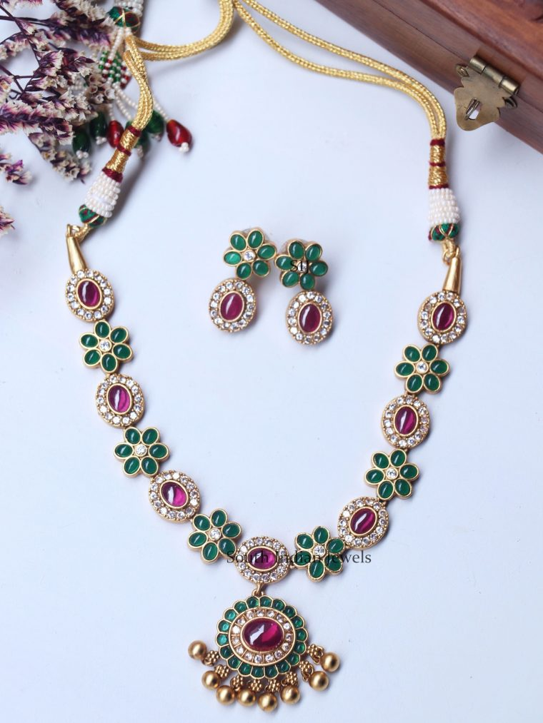 Traditional Ruby Green Floral Necklace
