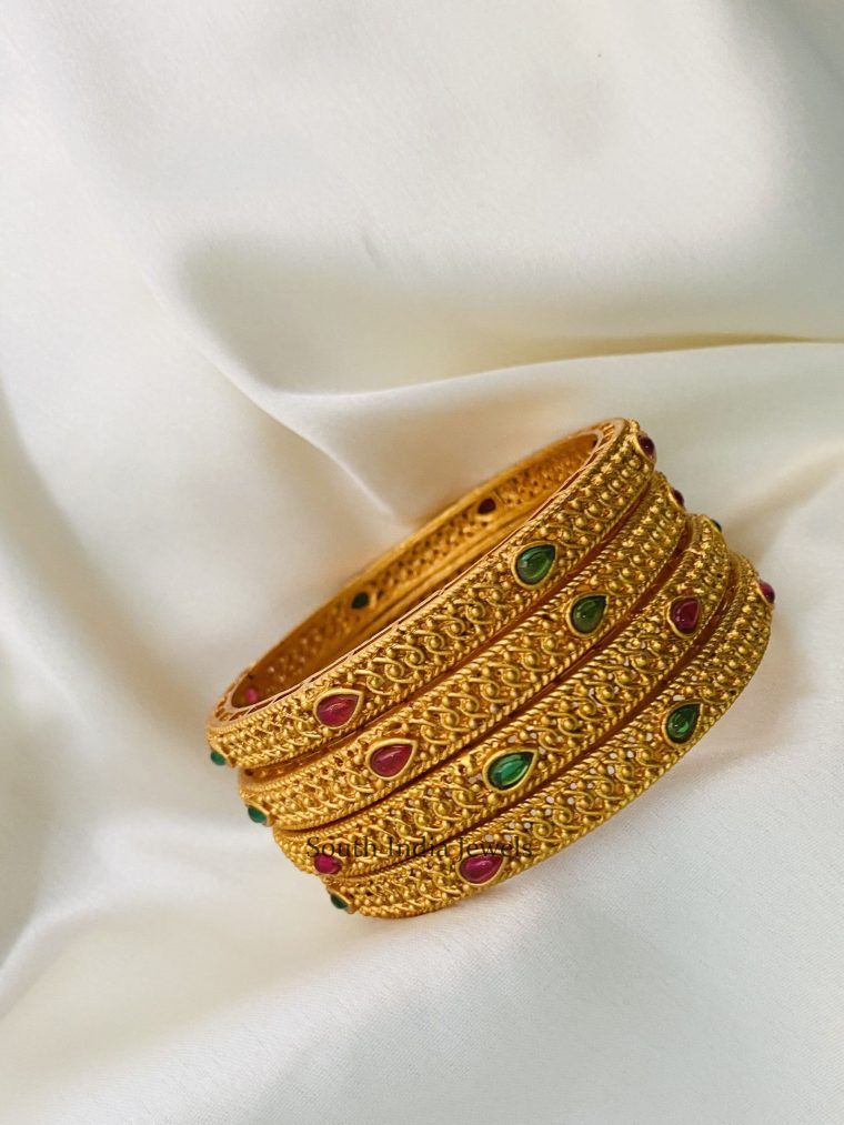 Traditional Ruby Green Gold Finish Bangles (Set of 4)