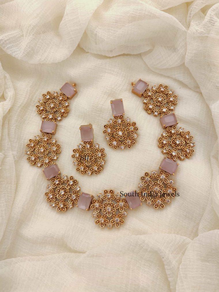 Unique Floral AD Stones Necklace