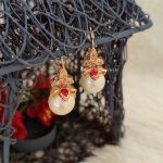 White & Ruby Pink Hoop Earrings (2)