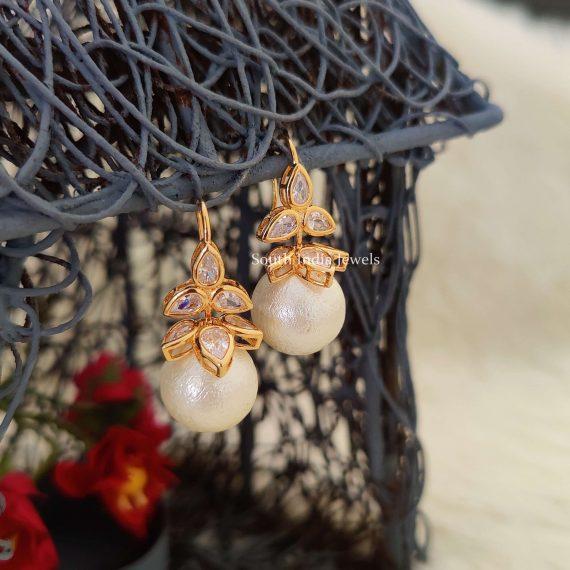 White & Ruby Pink Hoop Earrings (4)