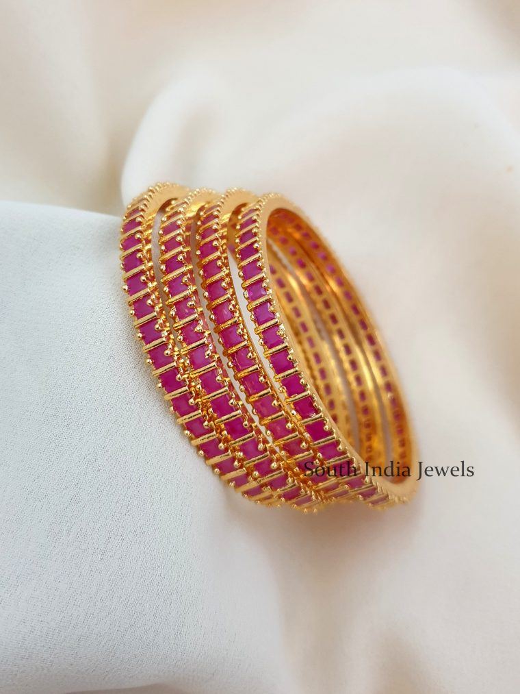 Beautiful Ruby Studded Bangles