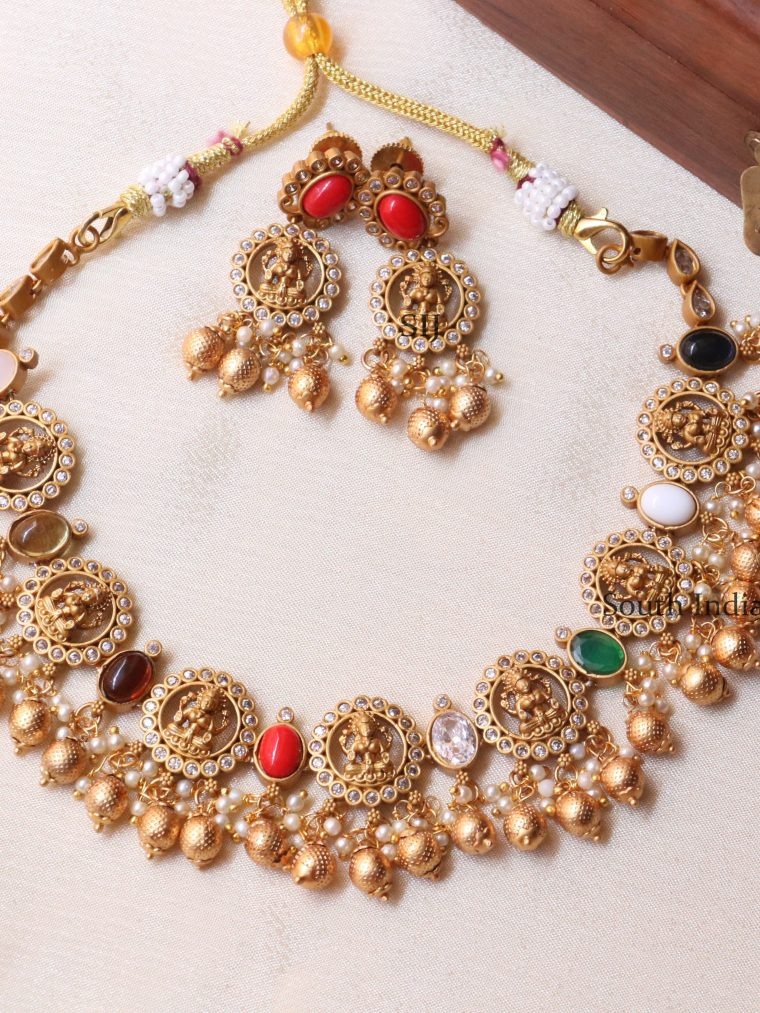 Classic Navaratna Lakshmi Design Necklace