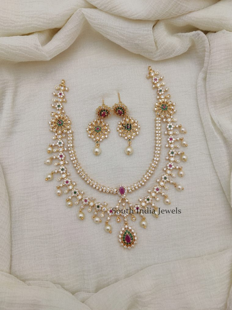 Double Layer Diamond Alike Necklace