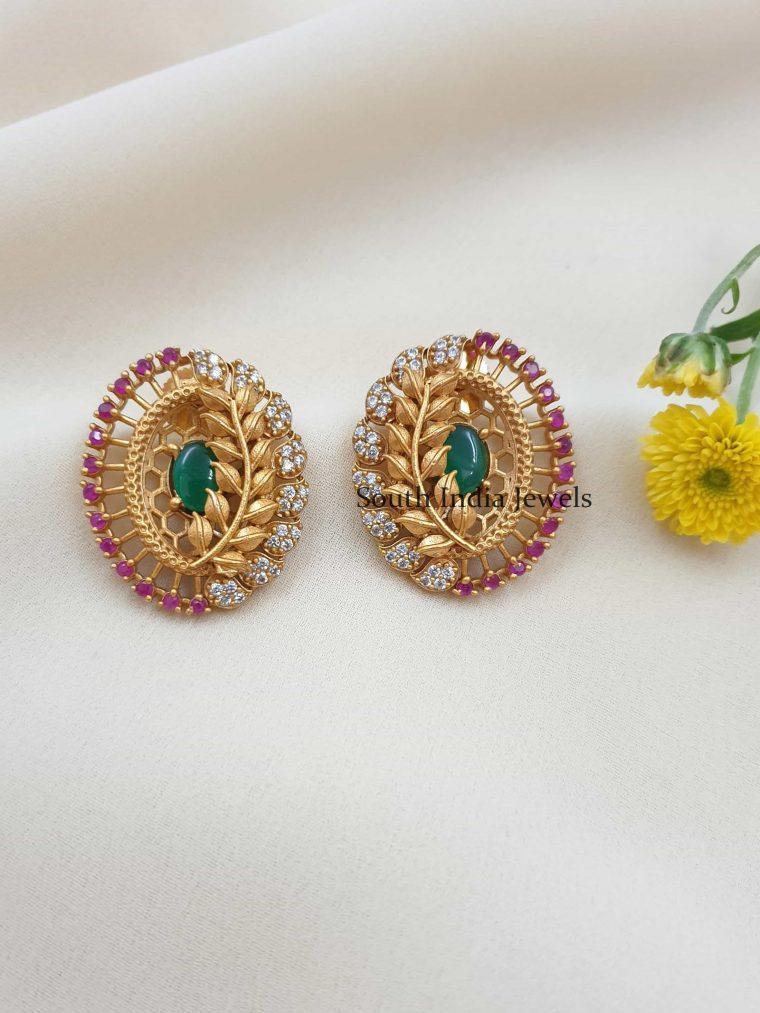 Elegant Leaf Design Multi Stones Earrings