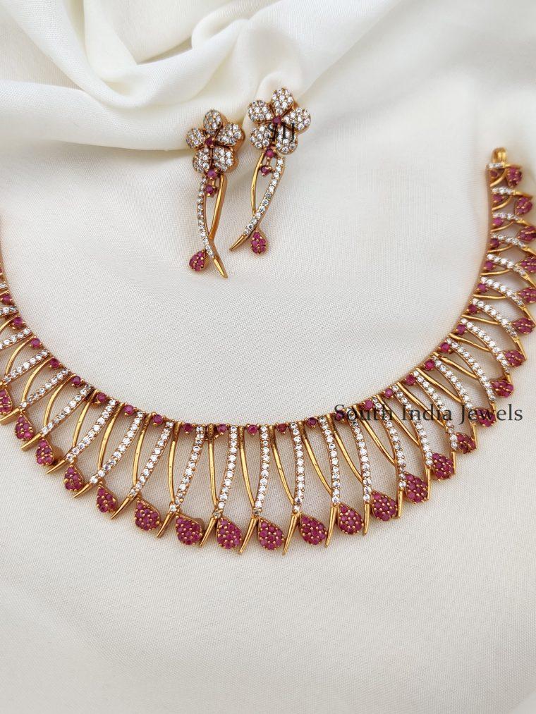 Elegant Ruby White Stones Necklace (2)