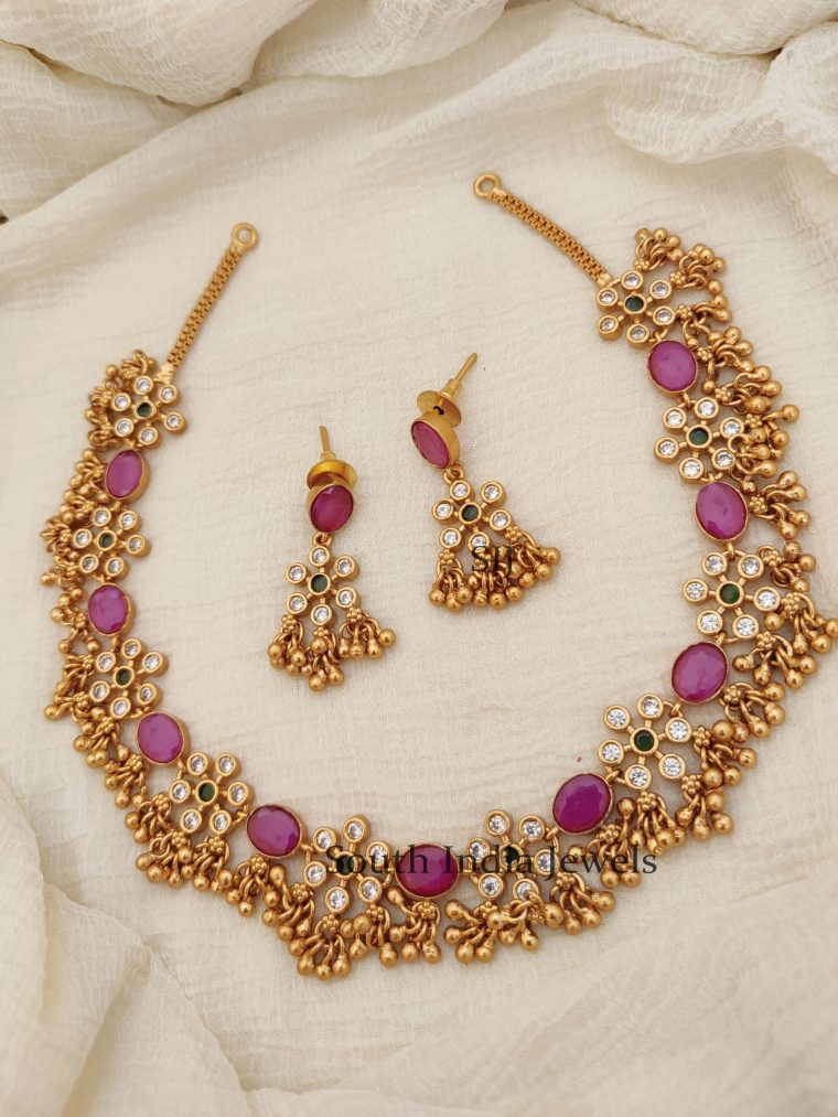 Floral Design AD Stones Necklace (2)