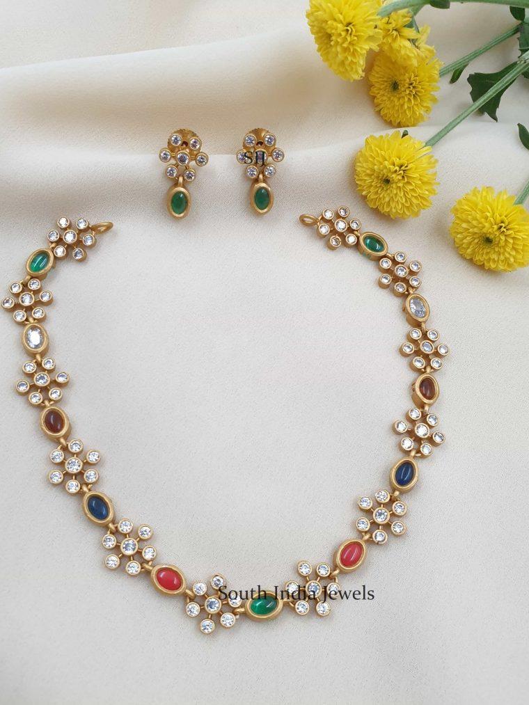 Floral Design Multi Stones Necklace