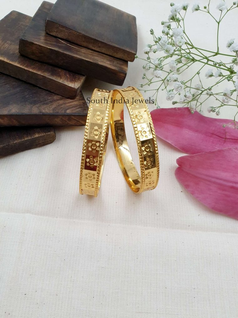 Gold Replica Floral Bangle Set