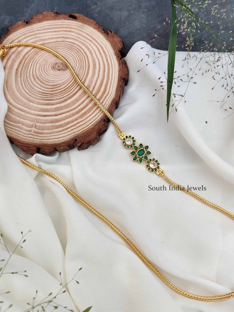 Green Stones Floral Design Mugappu Chain