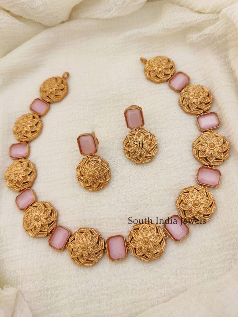 Marvelous Floral Pink Necklace (2)