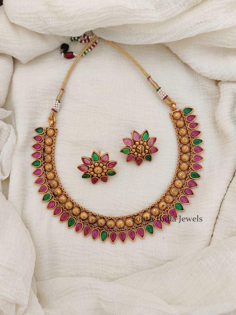 Multi Color Mulla Muttu Design Necklace -01