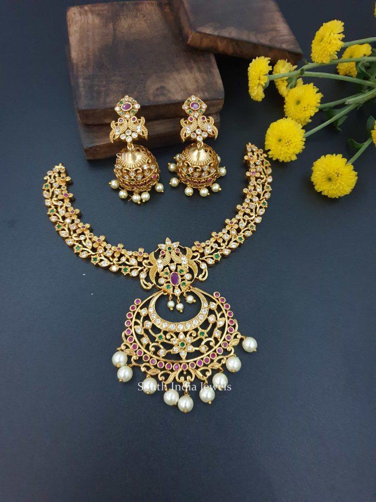Peacock Floral Design Chandbali Necklace