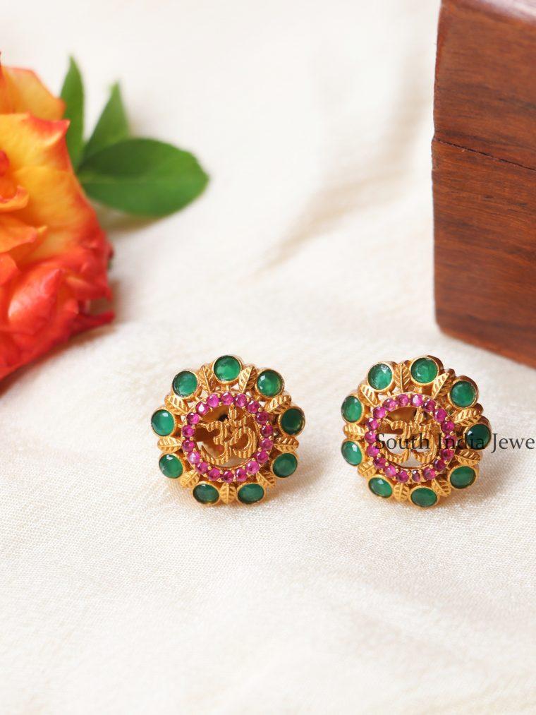 Ruby Emerald Om Design Earrings