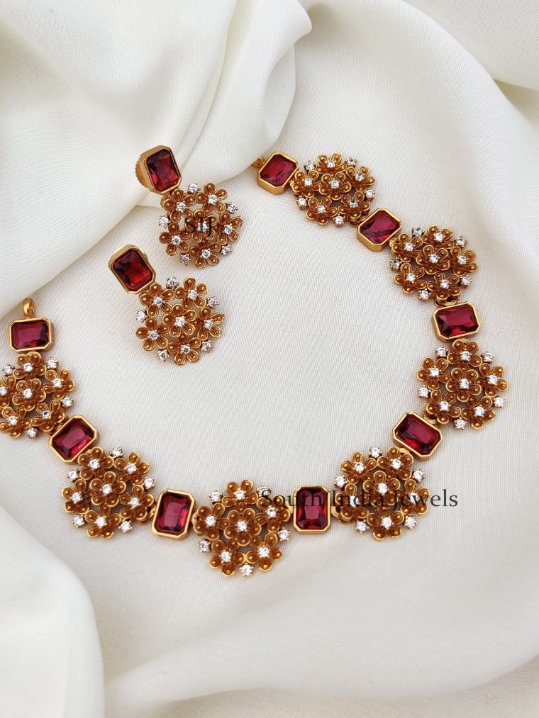 Ruby Floral Design Necklac