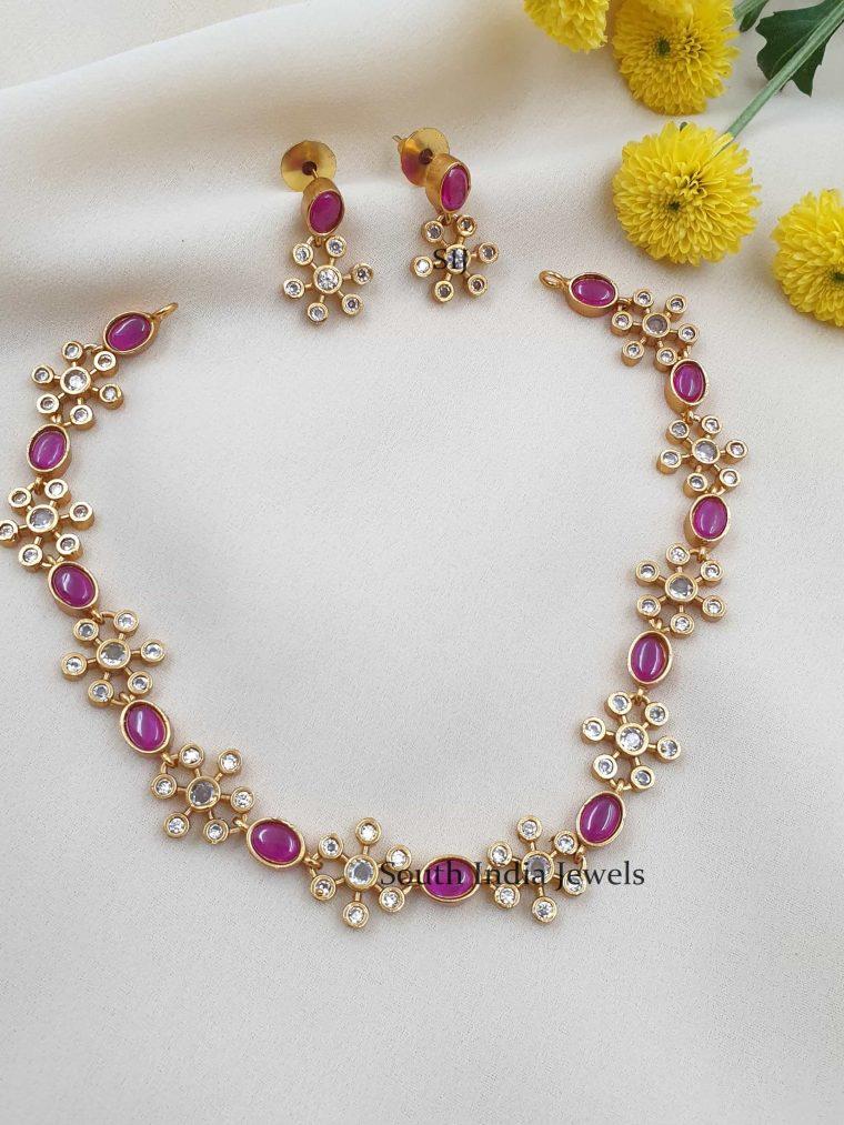 Ruby Stones Floral Design Necklace