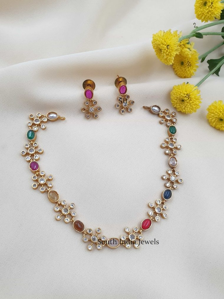 Sleek Floral Design Navarathan Necklace