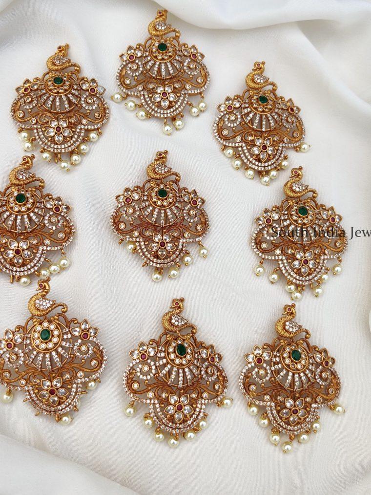 Stunning Peacock Multi Stone Jada Billai set