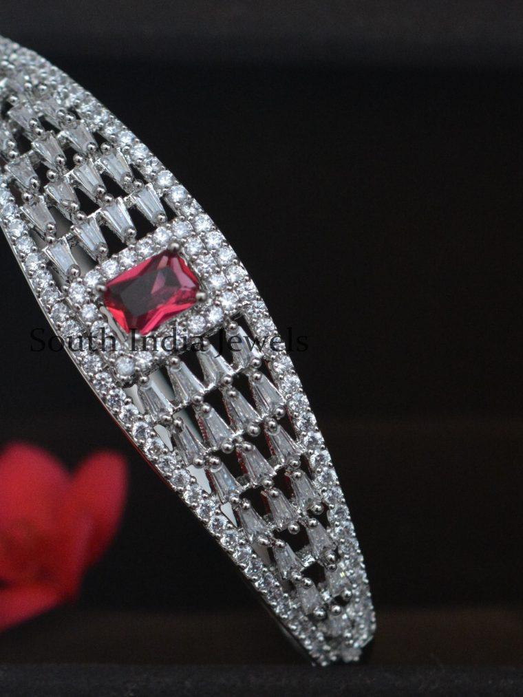 Stunning Platinum Finish Kada Bangle