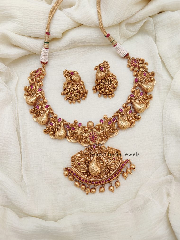 Traditional Bridal Peacock Kemp Necklace